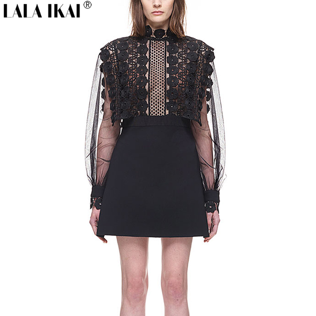 a728439ca939 2017 New Brand Designer Balloon Sleeve A-Line Mini Dress With Lace Panels  Woman Mesh See Through Long Sleeve Vestidos QWA0373-5