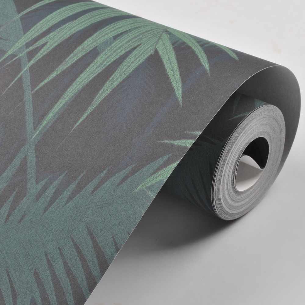 Hijau Hutan Tropis Pohon Palem Daun Hutan Wallpaper Roll Bunga Hutan Tanaman Alami Non-woven Dinding Kertas untuk Anak kamar