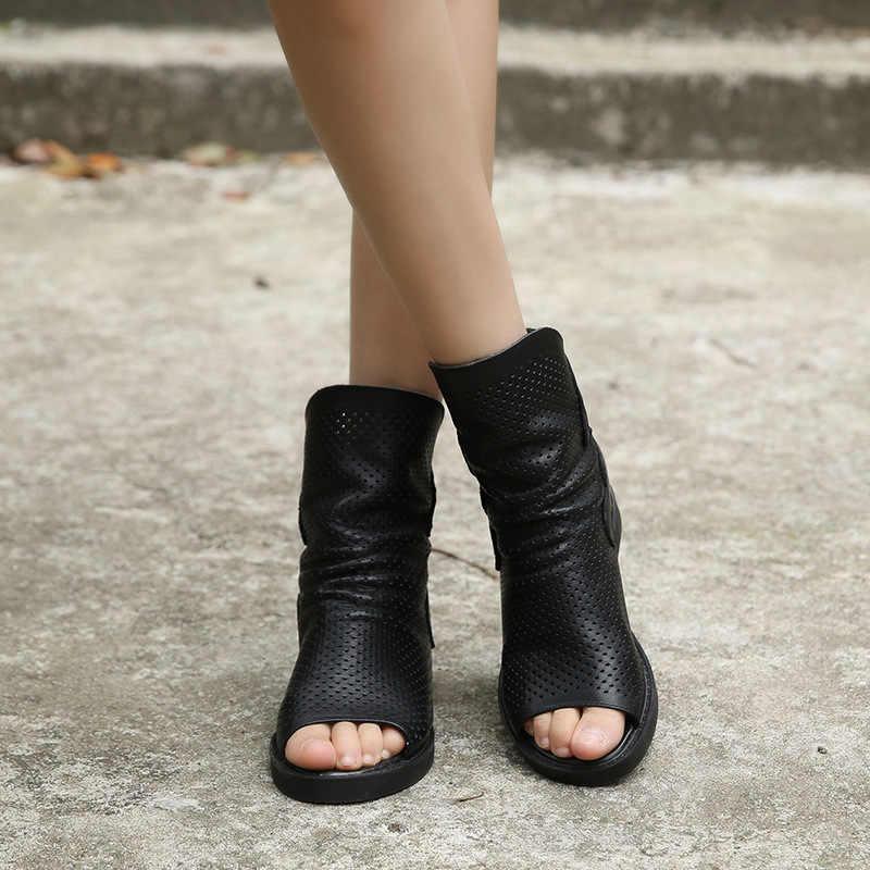 2019 ilkbahar yaz deri sandalet kadın serin yarım çizmeler artırmak balık ağız ayak nefes Roma sandalet siyah Actmdall