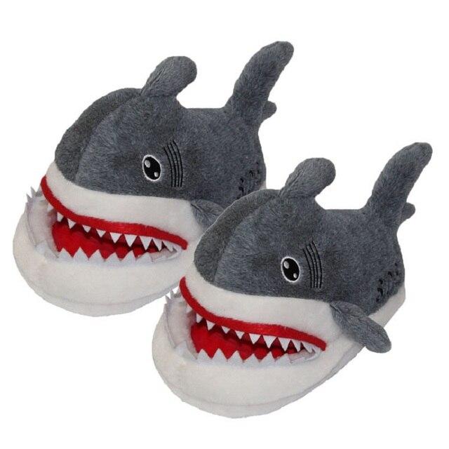Отсасывать Акулы Плюшевые Тапочки Акула мультфильм плюшевые тапочки дома осенью и зимой обувь