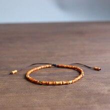 Eastisan 6X3 Mm Handcarved Natuurlijke Olijf Moer Armbanden Voor Mannen Vrouwen Reiki Gebed Stenen Super Dunne Armband Originele ontwerp