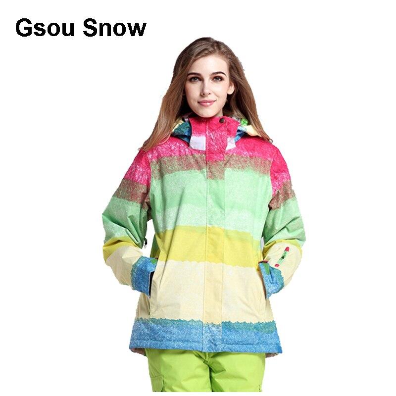 Gsou neige femmes Ski costume imperméable Snowboard veste coupe-vent chaud coloré hiver Sport manteau - 2