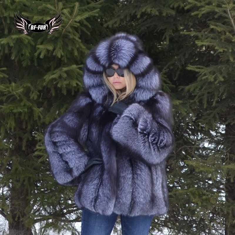 BFFUR Fashion Womens Coats 2019 Winter Palace Fur Coats From Natural Fur Real Leather Jacket Female Fox Outerwear Plus Size Tops