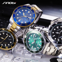 SINOBI Mens Watches Top Brand Luxury High Quality Solid Steel Belt Mans Sport Submariner Series Watches