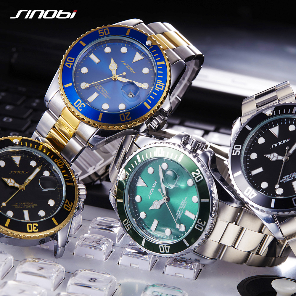 SINOBI Mens Watches Top Brand Luxury High Quality Solid steel belt Mans Sport Submariner series Watches Golden relogio masculino kcchstar the eye of god high quality 316 titanium steel necklaces golden blue