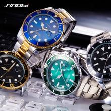 SINOBI Relojes Para Hombre de Primeras Marcas de Lujo de Alta Calidad de la correa de acero Sólido Mans Deporte serie Submariner Relojes de Oro relogio masculino
