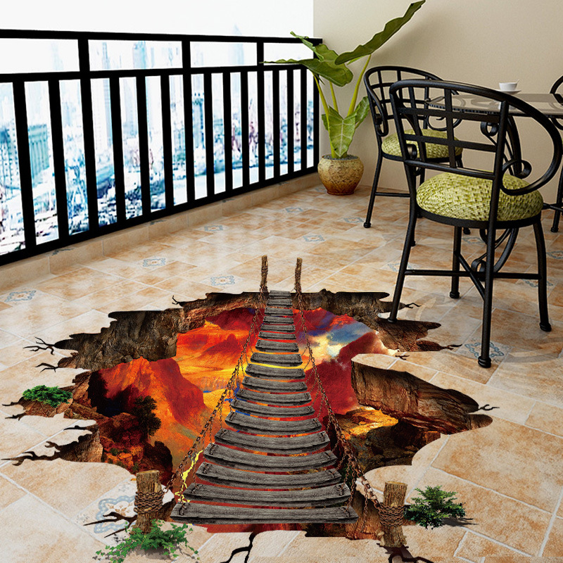 1pc 3D Broken Wall Sticker Waterproof PVC Removable Flame Mountain Chain Bridge For Kids Rooms Home Decor Living Room Art Mural in Wall Stickers from Home Garden