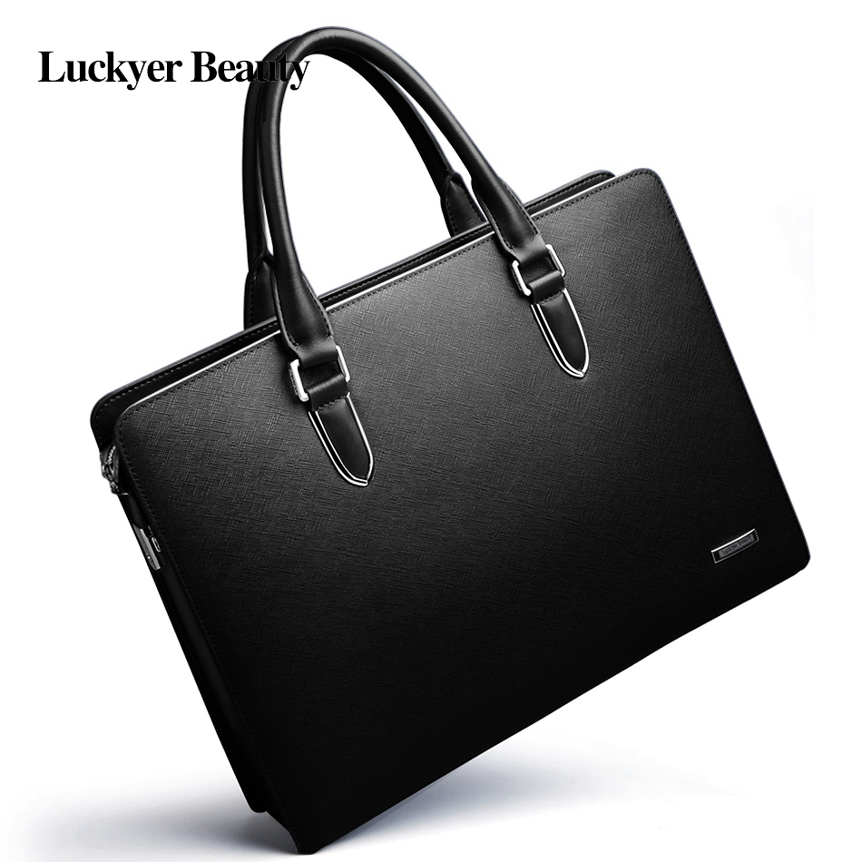LUCKYER BEAUTYmen Bag Briefcase Leather Computer Bag Messenger Handbag Purses Jobs Genuine Leather