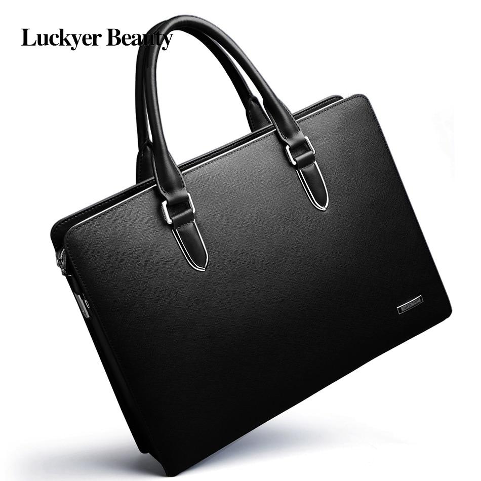 LUCKYER BEAUTYmen Bag Briefcase Leather Computer Bag Messenger Handbag Purses Jobs Genuine Leather
