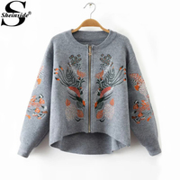 Sheinside Embroidery Sweater Coat Grey Zipper Up Long Sleeve High Low Ladies Sweater 2017 Fall Fashion