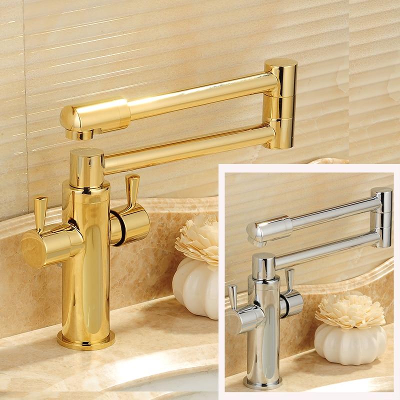 Chrome/Golden Dual Handles kitchen Faucet Folding Neck Hot and Cold Bathroom Kitchen Mixer Taps все цены