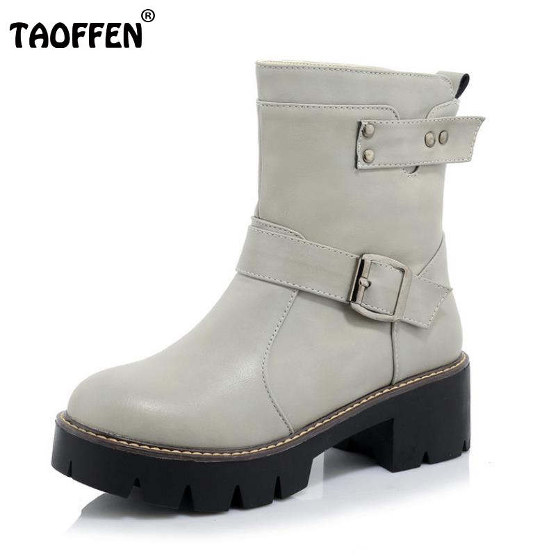 Women New Square Heel Ankle Boots Woman Buckle Round Toe Low Heels Shoes Female Zipper Martin Boot Bota Feminina Size 34-43 women platform square high heel ankle boots fashion side zipper round toe shoes woman black white beige