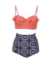Sexy Bikinis Ruffled Floral Print Swimsuit High Waist Plus Size Swimwear Brazilian Bikinis Set Large Size Bathing Suits Biquini