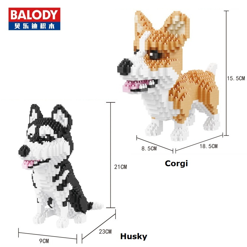Balody Mini Blocks Cute Corgi Dog Plastic Building Toy Animal Poodle Model Brinquedos Husky Toys for Children Lovely Gifts 16043 wl mini blocks captain america animal fruit intelligence model building nanoblock diy cute party supplies toy