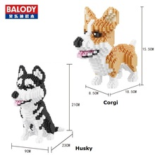 Balody Mini Blocks Cute Corgi Dog Plastic Building Toy Animal Poodle Model Brinquedos Husky Toys for Children Lovely Gifts 16043