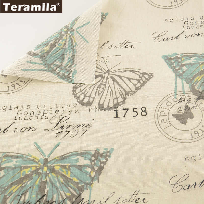 Sewing Material Tissu Tablecloth Pillow Bag Curtain Cushion Pillow TERAMILA Home Textile Cotton Linen Fabric Cartoon butterflies