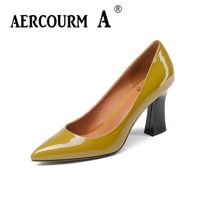 Aercourm A 2018 Women Spring Fashion Shoes Ladies Bright Patent Leather Shoes Square High Heel Pumps Black Brand Shoes Z319 aercourm a 2018 women black fashion shoes female bright genuine leather shoes pearl high heel pumps bow brand new shoes z333