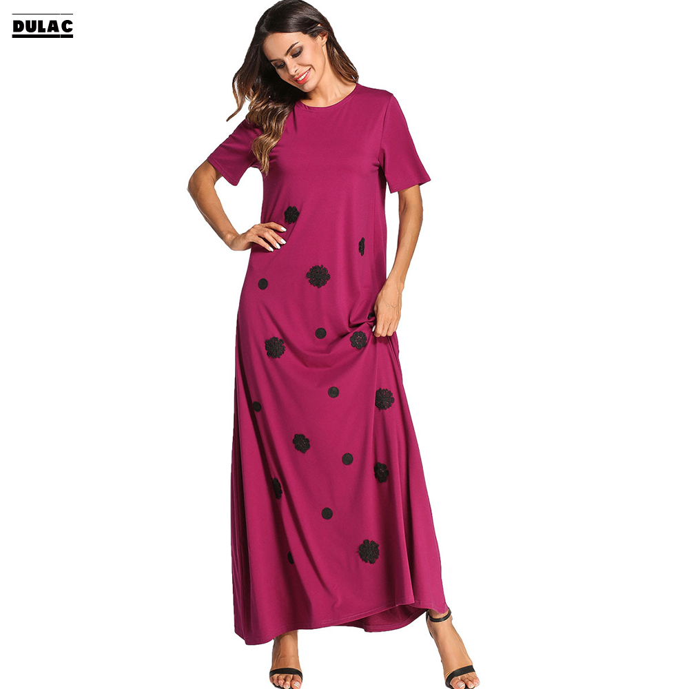2018 Ramadan Middle East Gown Muslim Abaya Robe Big Women Fashion O-Neck Short Sleeved Applique Knitted Casual Loose Long Dress women s maxi dress winter abaya striped robes loose style thickening knitted cotton jilbab muslim middle east islamic clothing