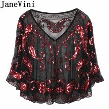 JaneVini Arabic Evening Shawls with Sequins Beaded Bridal Wraps Shrug Cape Dentelle Gold Bolero Tul Wedding Party Jackets Coat