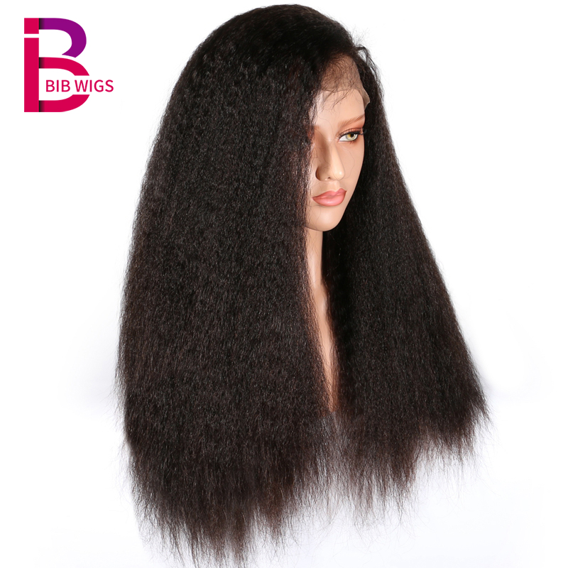 Brazilian Kinky Straight hair wigs Lace Front Human Hair Wigs Pre Plucked Remy With Baby Hair