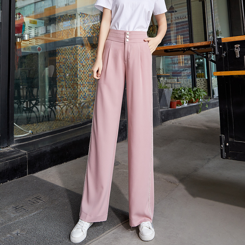 Pink Chiffon   Wide     Leg     Pants   Women Summer Thin Button Full Length Trousers Women Casual Loose Streetwear Plus Size Palazzo   Pants