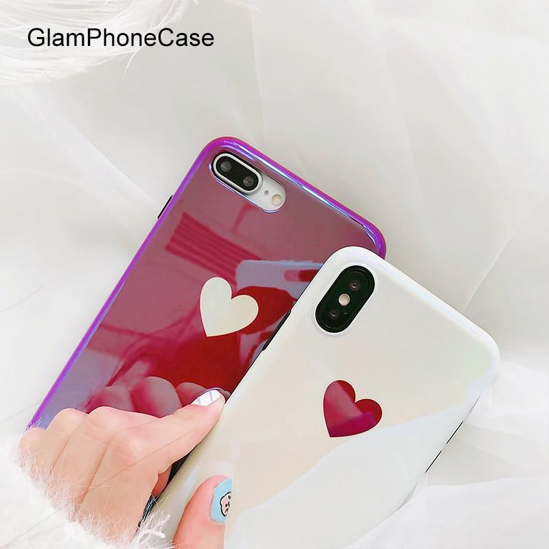 GlamPhoneCase Nette Laser Liebe Herz Telefon Fall für iphone X 8 8 plus 7 7 plus Weiche Rückseitige Abdeckung für apple 6 6 plus 6 S 6 S +