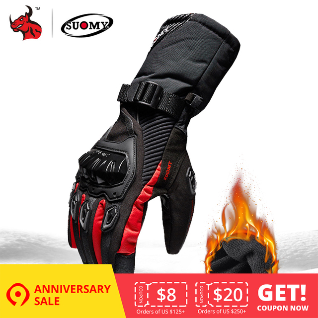 SUOMY Motorcycle Gloves Men 100% Waterproof Windproof Winter Moto Gloves Touch Screen Gant Moto Guantes Motorbike Riding Gloves