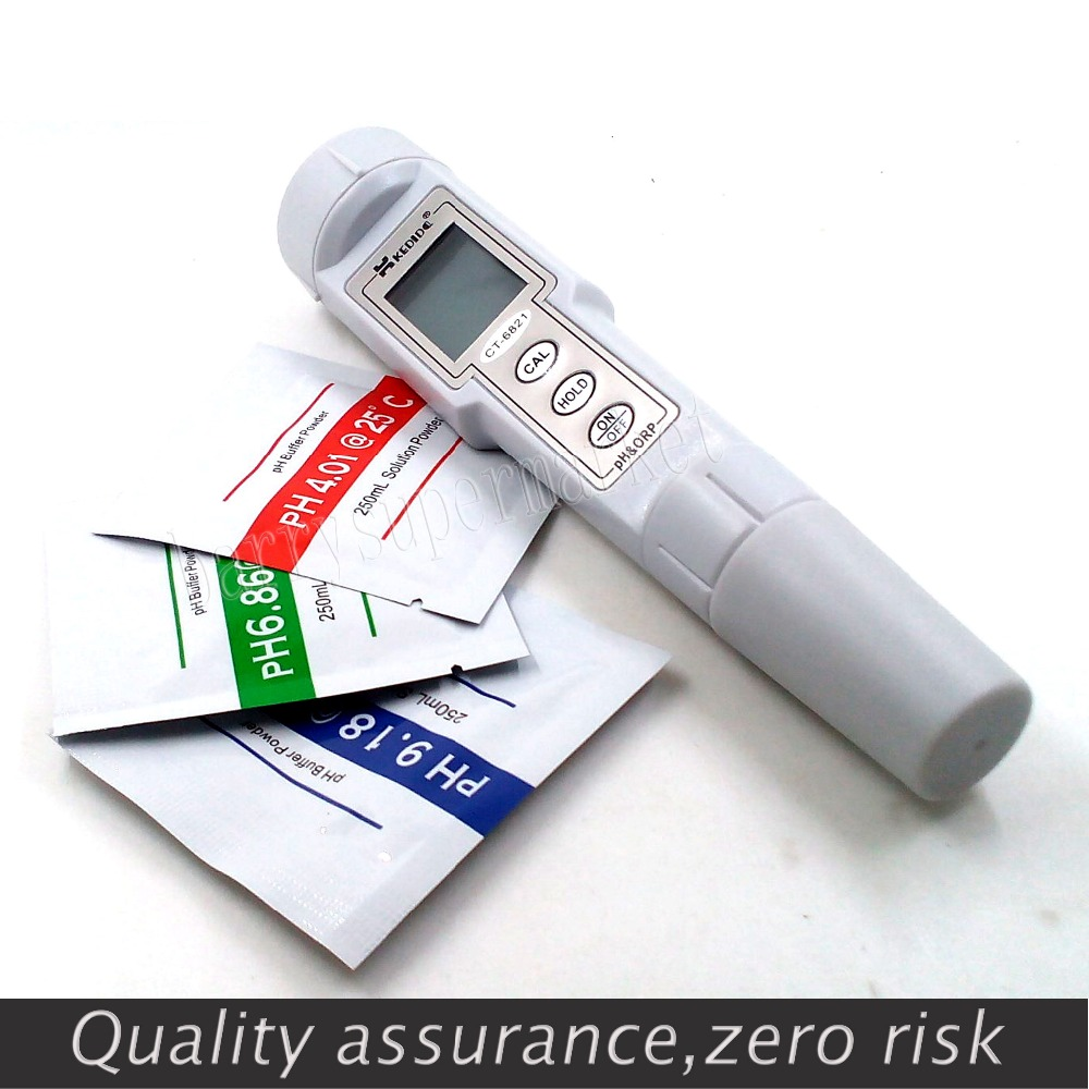 Digital PH Meter ORP Meter 0.0--14.0pH 500mV protable PH tester ORP tester Oxidation-Reduction Potential meter ATC CT-6821 portable pen orp meter redox potential tester negative potential pen tester orp meter