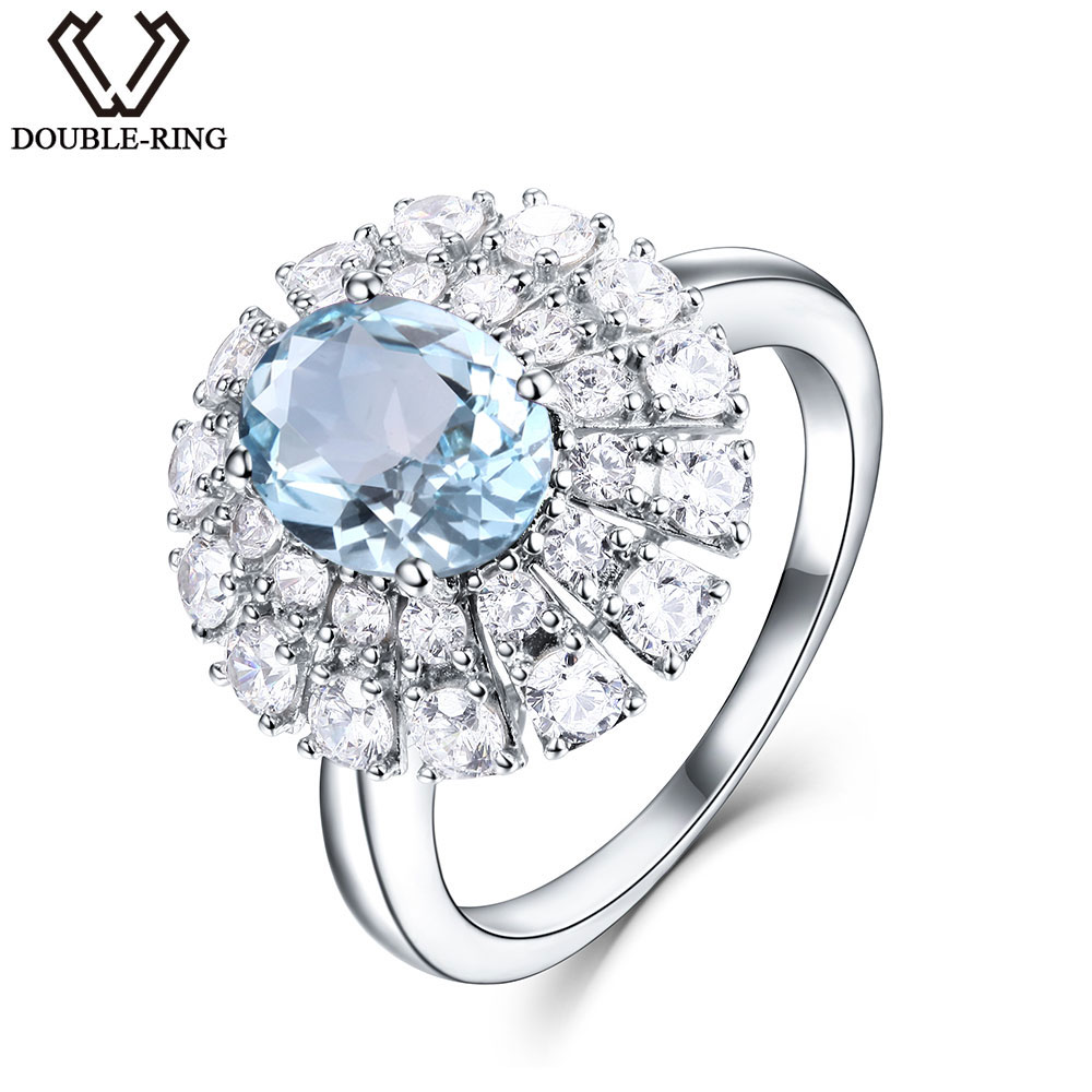 Zásnubní prsteny 925 Sterling Silver 1.74ct Nature Oval Aquamarine Rings with Mosaic for Women Wedding