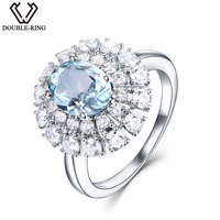 Engagement Rings 925 Sterling Silver 1.74ct Nature Oval Aquamarine Rings with Mosaic for Women Wedding