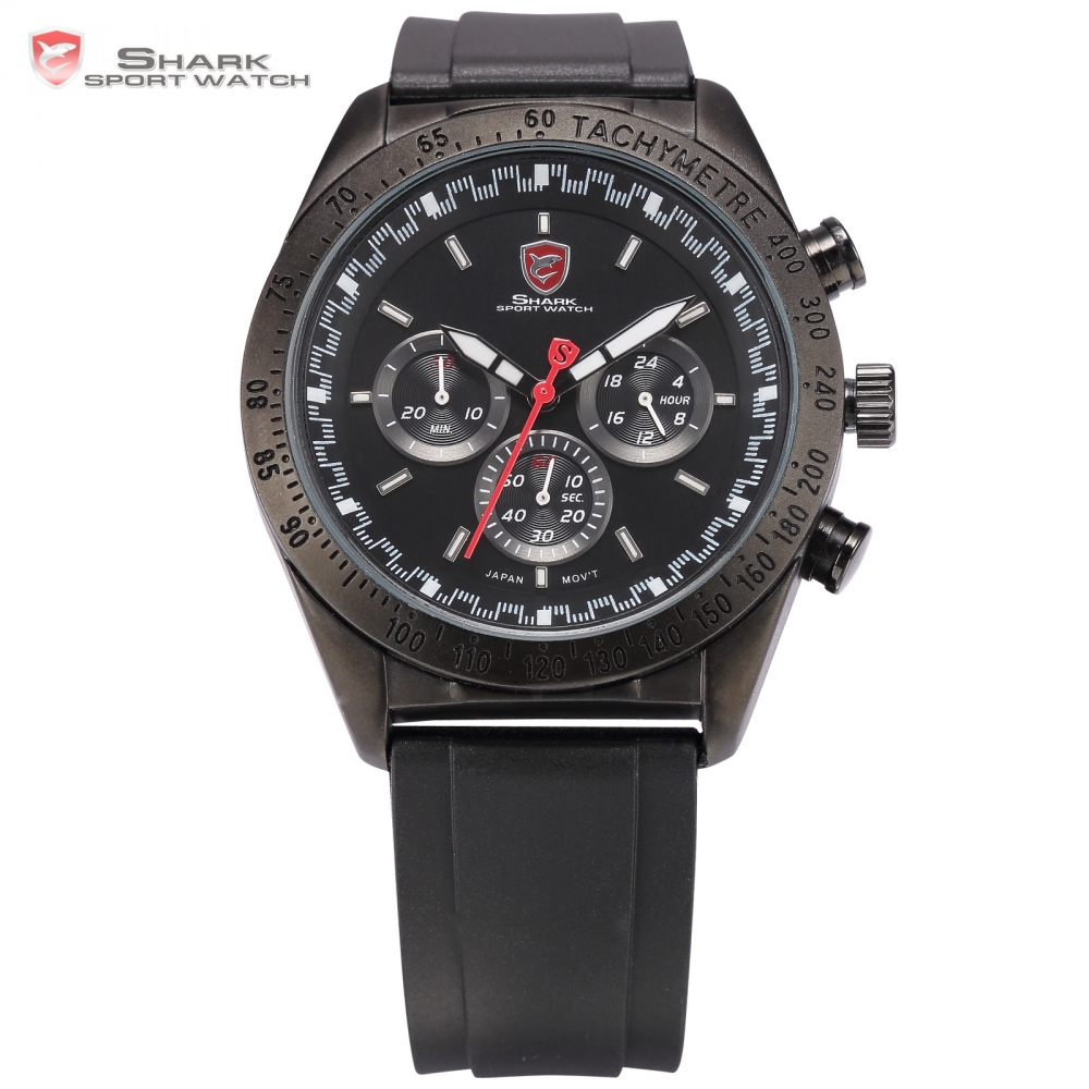 ФОТО Swell SHARK Sport Watch Luxury 3 Dial 24Hrs Black Dial Luminous Hands Rubber Strap Military Outdoor Men Timepiece Watches /SH272