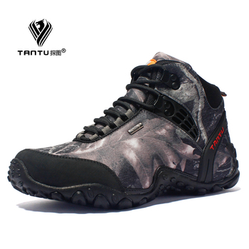 New waterproof canvas hiking shoes boots Anti-skid Wear resistant breathable fishing shoes  climbing high shoes 1