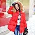 Original de la Marca 2016 de Las Mujeres Chaqueta de Invierno Más Tamaño Suelta Vendimia de la Manera Rojo Real Cuello de Piel Con Capucha de Down Coat Mujeres venta al por mayor