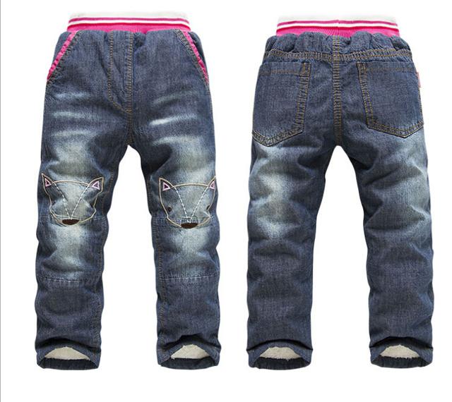 2015 Novo Padrão Gato das Crianças calças de Brim Do Bebê Meninas Calças Calças de Casimira Crianças Calça Jeans Inverno Meninas para 2-7 anos
