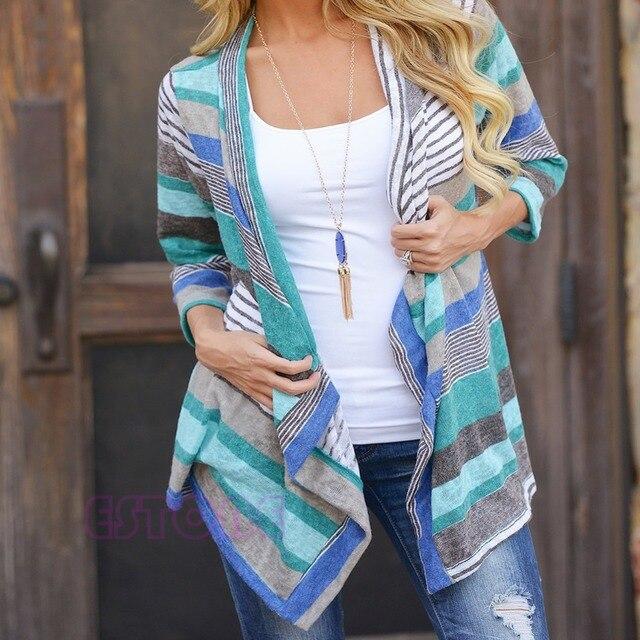 נשים קרדיגן רופף סוודר ארוך שרוול כותנה פסים להאריך ימים יותר סרוג מעיל מעיל חולצות מכירה לוהטת חדש
