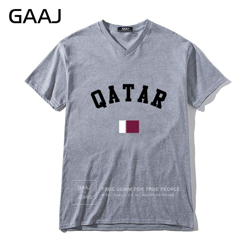 Diy Men V Neck Short Sleeve T shirt Qatar Flag Men T Shirts Ladies Cotton T-shirt Grey - intl