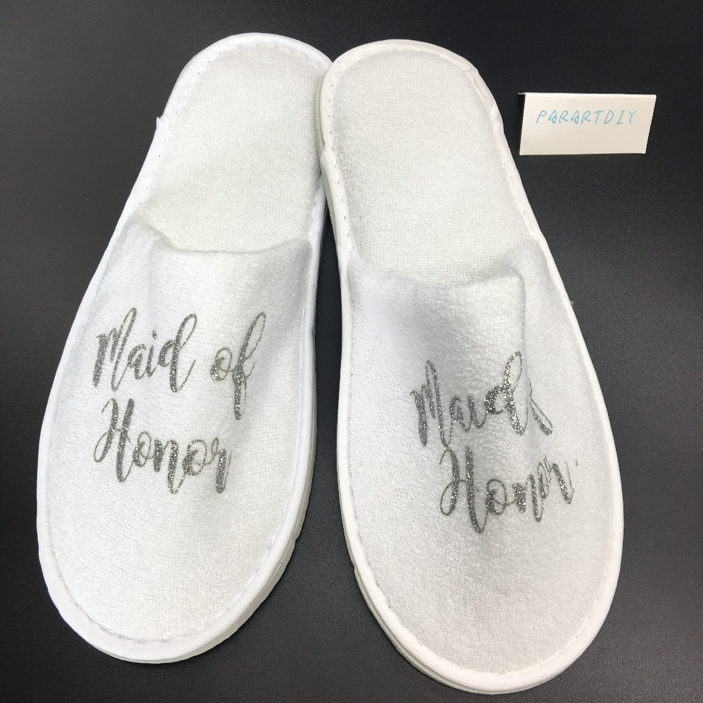 fa8177dabf8 personalize glitter silver wedding bridesmaid bride to be groom spa soft slippers  hen night Bachelorette party favors gifts-in Party Favors from Home ...