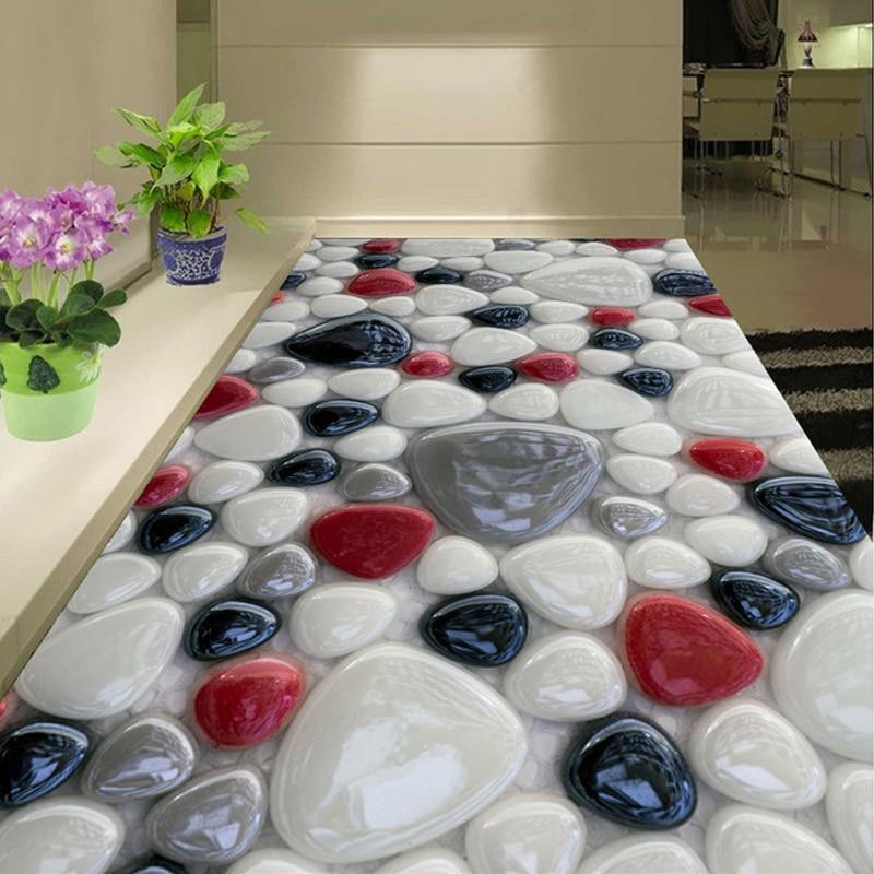 Custom Wall Mural Floor Sticker 3D Color Stones Wall Painting Bedroom Living Room Bathroom Self-adhesive Floor Wallpaper Decor