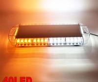 CYAN SOIL BAY 22 40 LED Emergency Warning Beacon Tow Truck Strobe Flash Light Bar Amber White