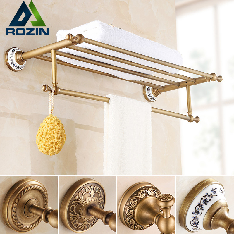 Wall Mounted Retro Style Bath Towel Shelf Antique Brass Bathroom Towel Holder Towel Bar Multi-styles whole brass blackend antique ceramic bath towel rack bathroom towel shelf bathroom towel holder antique black double towel shelf