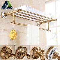 Wall Mounted Retro Style Bath Towel Shelf Antique Brass Bathroom Towel Holder Towel Bar Multi styles
