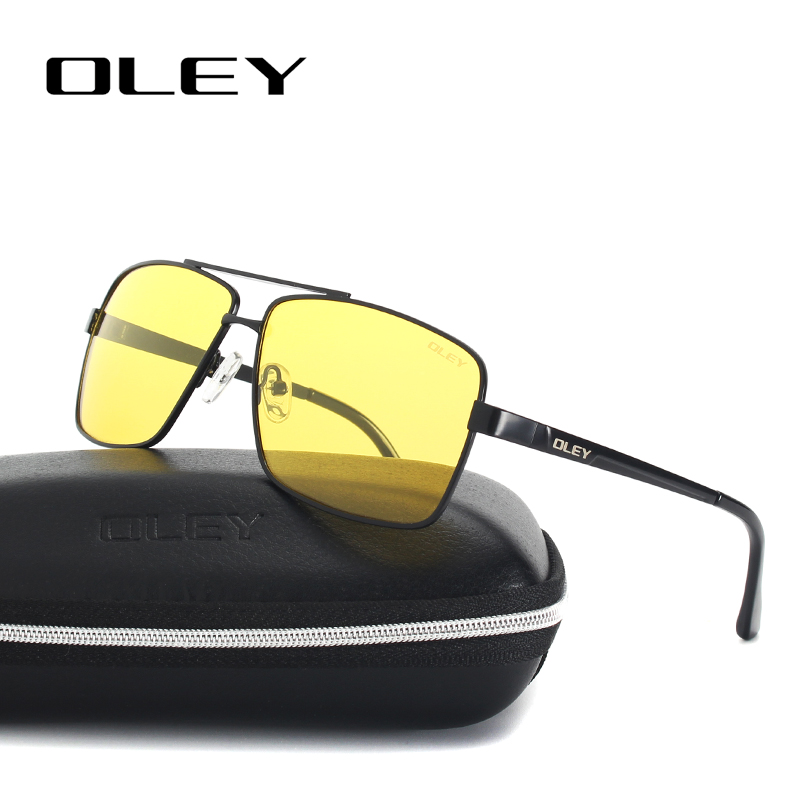 OLEY Mens Polarized Night Driving Sunglasses Men Brand Design Yellow Lens Night Vision Glasses Square Goggles Reduce Glare Y1612