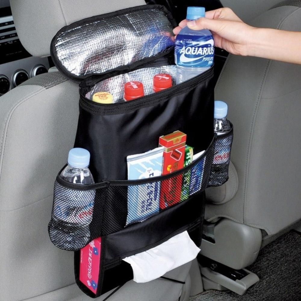 Car Breast Milk Storage Bag מושב אחורי ארגז מבודד מושב אחורי מחליף בקבוק קירור שקית מגניב אריזת בקבוק עם כיסים רשת