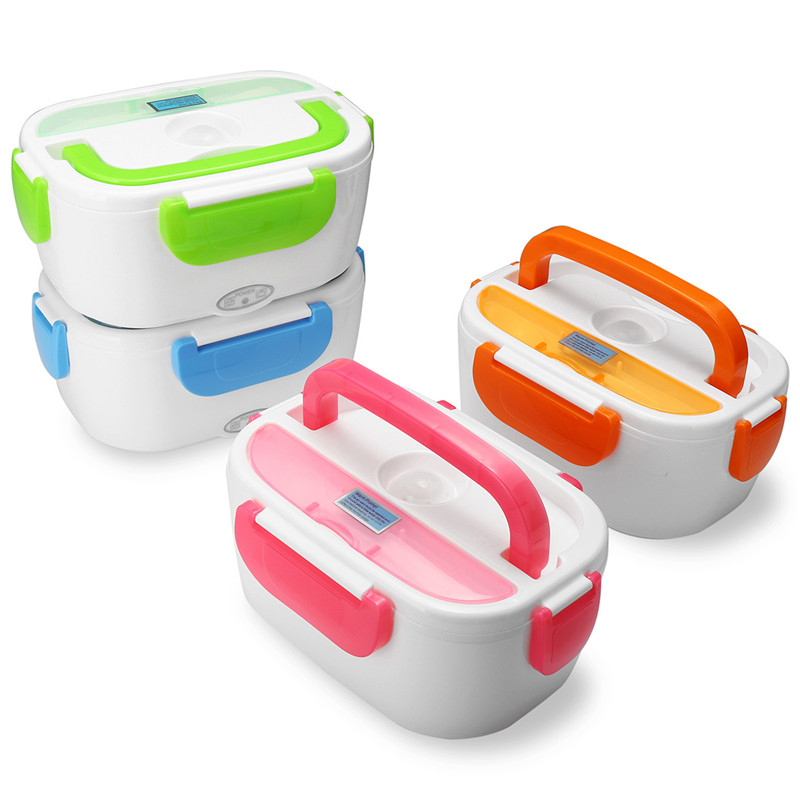220V/110V Portable Electric Heating Lunch Box Food-Grade Food Container Food Warmer For Kids 4 Buckles Dinnerware Sets