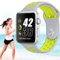 2016 new flexível de silicone respirável esportes banda para apple watch série 1 & 2 42mm 38mm m/l s/m de borracha watchband preto volt