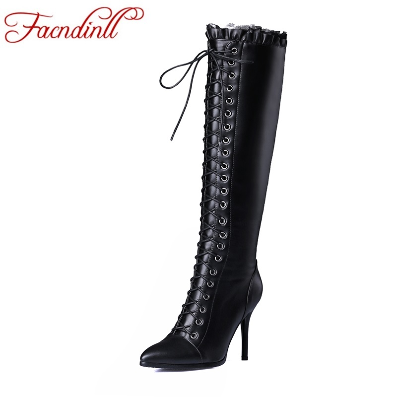 FACNDINLL brand shoes 2017 autumn winter women knee high boots sexy high thin heels pointed toe shoes woman zipper long boots facndinll women knee high boots leather winter boots pointed toe zip casual shoes women high heels size 32 45 black boots woman