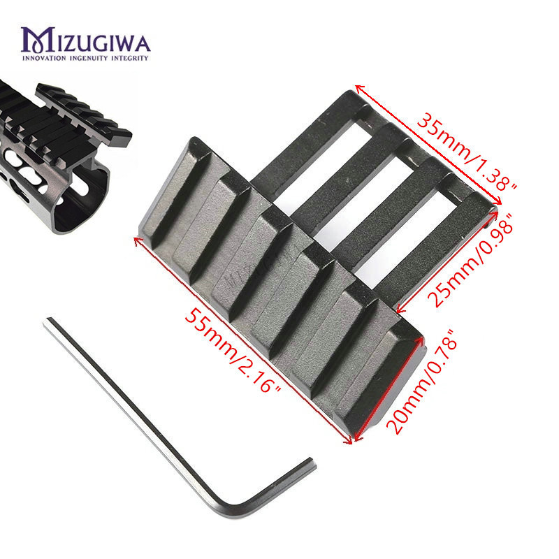 Tactical 5 Slots Side Rail 30 Angle Offset 20mm Picatinny Rail Mount Weaver Low Profile Adapter Sight Laser Fit Keltec Sub 2000
