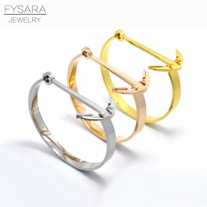 ୧ʕ ʔ୨fysara Liebe Schraube Armband Edelstahl Gold Farbe Anker