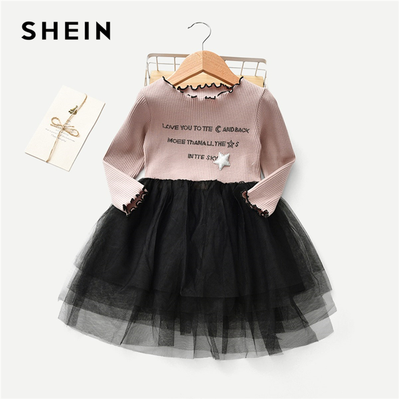 SHEIN Toddler Girls Letter Print Frill And Contrast Mesh Detail Dress Girls Clothing 2019 Fashion Long Sleeve A Line Girls Dress retro rose print letter sleeveless fit and flare dress