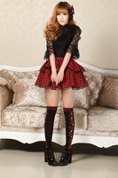 Princess Red Plaid Skirts Punk Lolita Cosplay Women Skirts Girls Mini Pink Bow Tie Lace Hem Double Layer Skirts High Quality